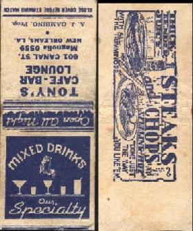 Matchbook Cover from Tony's Cafe-Bar Lounge