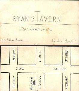 Business card for Ryan's Tavern in Honolulu