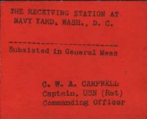 Possibly a chow pass for Navy Yard, Washington DC